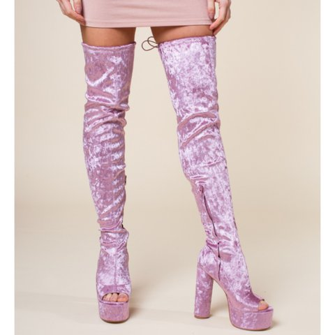 03ac59d37a4 Pink crushed velvet thigh high heeled boots! The perfect for - Depop