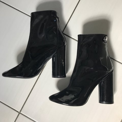 01716acfb PVC shiny black heeled boots, zip at the back. Perfect been - Depop