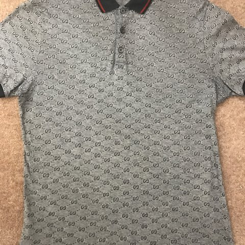 3f19138505f3 Men s Gucci GG jacquard polo shirt in navy blue silver. used - Depop
