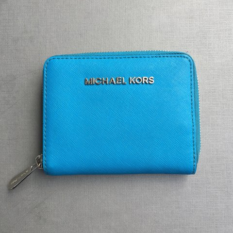 cebf631dab62 @dressybessy. 6 months ago. Croydon, United Kingdom. Electric blue/teal  Michael Kors wallet/purse. Used but very ...