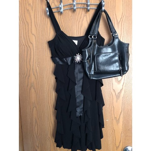 aa665fc0326 Short black ruffle dress with large crystal accent perfect a - Depop