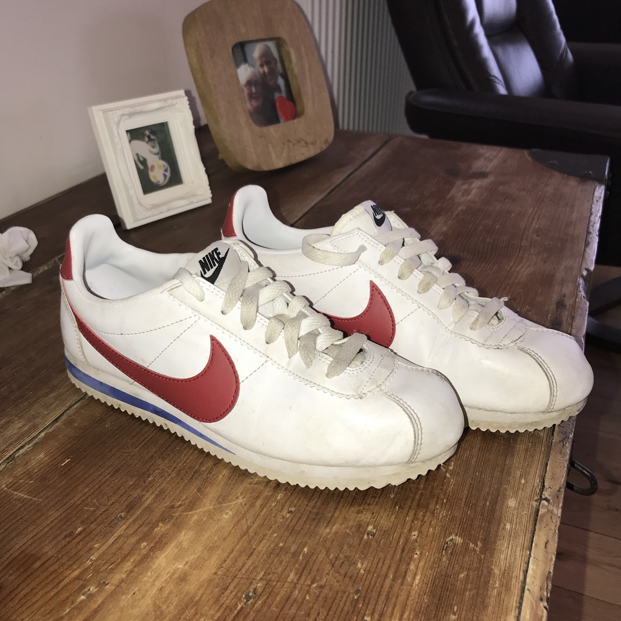 cheap for discount f0717 3a8e8 size 6 Nike Cortez Forrest Gump trainers in blue... - Depop