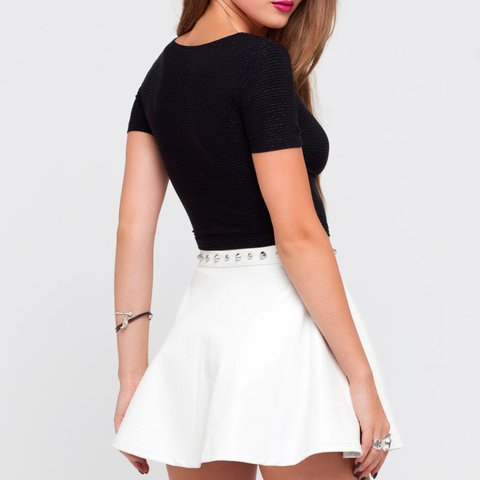 aa38cee028 @charlywebster1. 3 years ago. Epsom, Surrey, UK. White faux leather skirt  ...