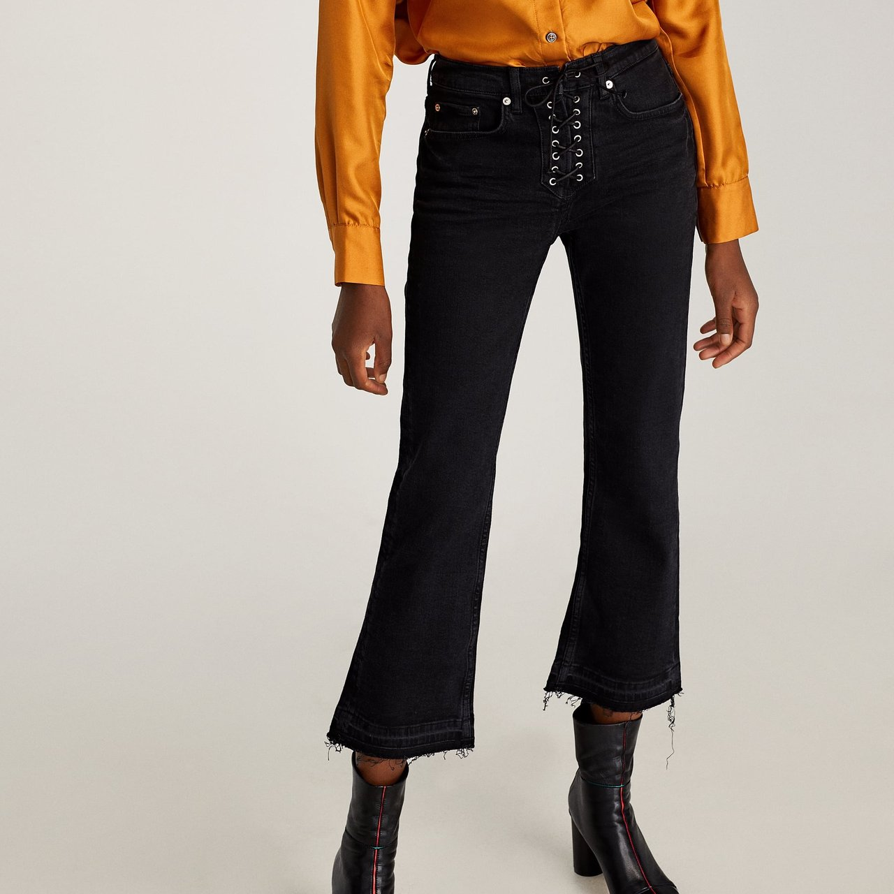 d846393f184822 Zara Lace Up Jeans High waisted