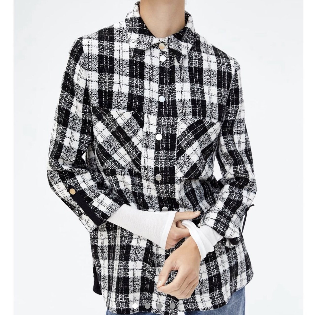 70d54969750b69 Zara Check Flannel Over-Shirt Tagged M Brand