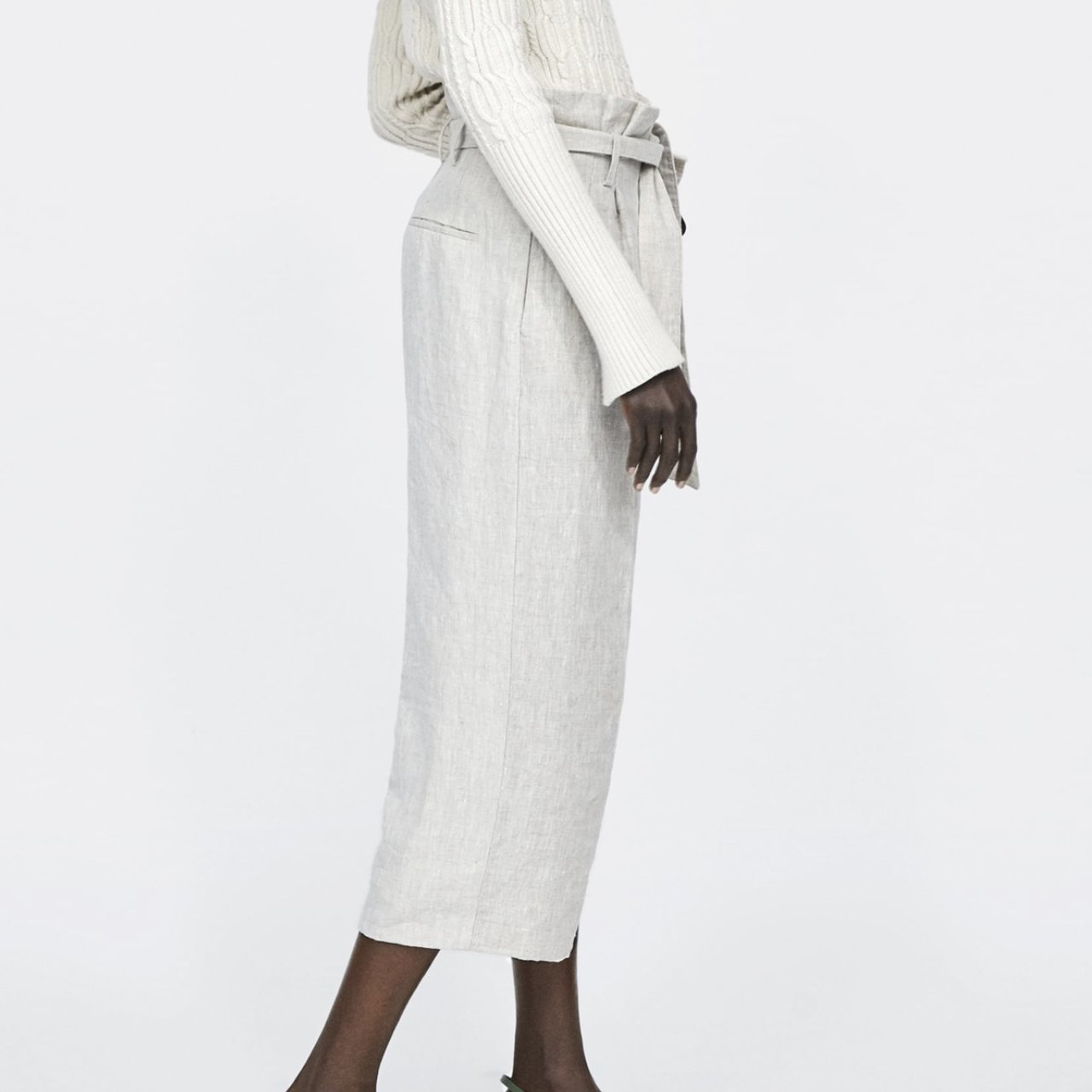 2bbda8a5cee67c Zara Linen Trousers with Belt Tagged
