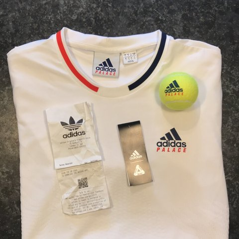 13a8e632 @samcheadle. 2 months ago. United Kingdom. Palace x Adidas Tennis  Collection On Court Jacquard Tee in white ...