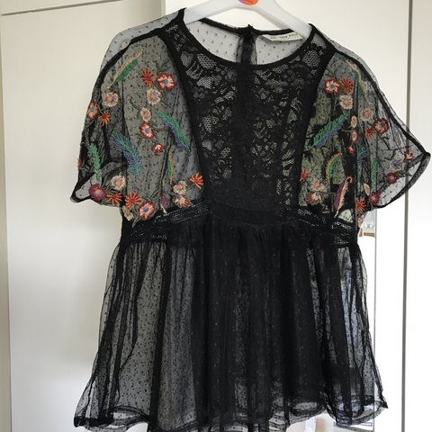 5a71c7f3a8e4ee Black mesh lace embroidered top from Zara. Worn a few times