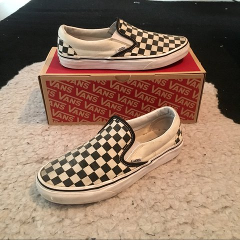 cd9e72b3bb Checkerboard slip on vans with box Bought for £50 Size signs - Depop