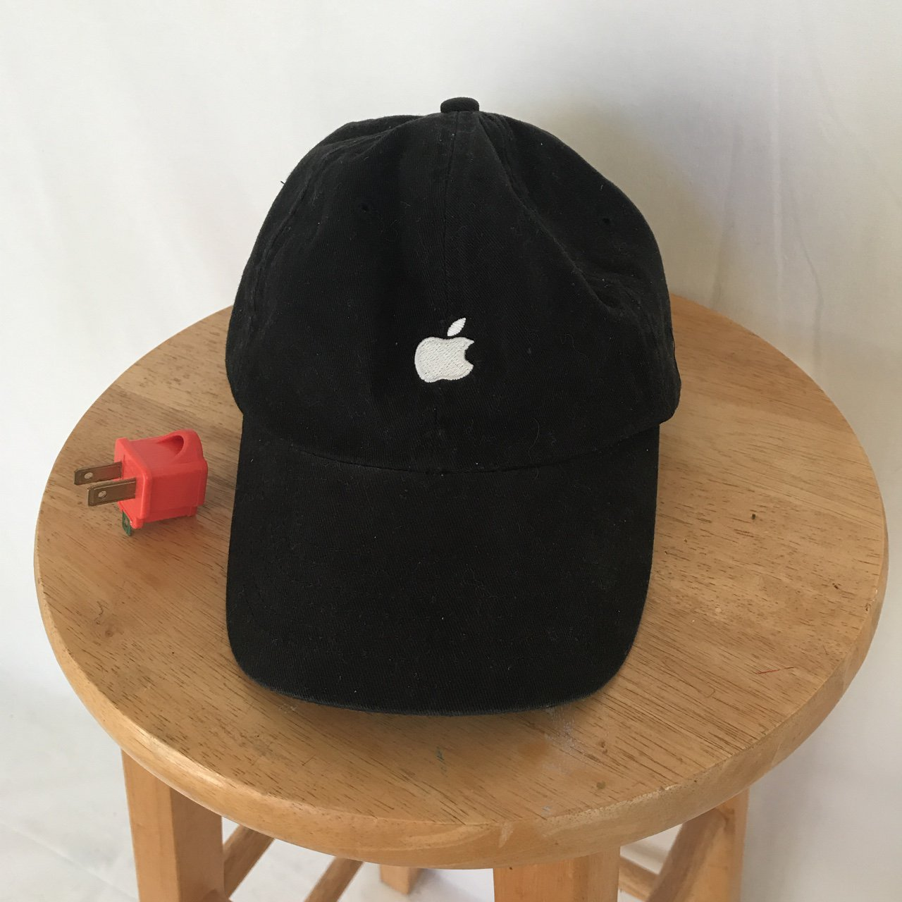 Iconic Y2k black apple strap back dad hat. If your daddy is - Depop d30a78a47f0