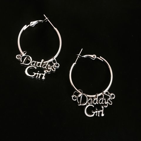 Silver Colored Daddys Girl Hoop Earrings Hoops Earrings Depop