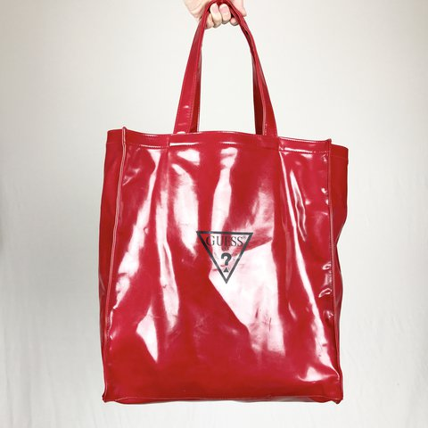 e930a8336f Guess Glossy Tote Super cute cherry red over sized bag with - Depop