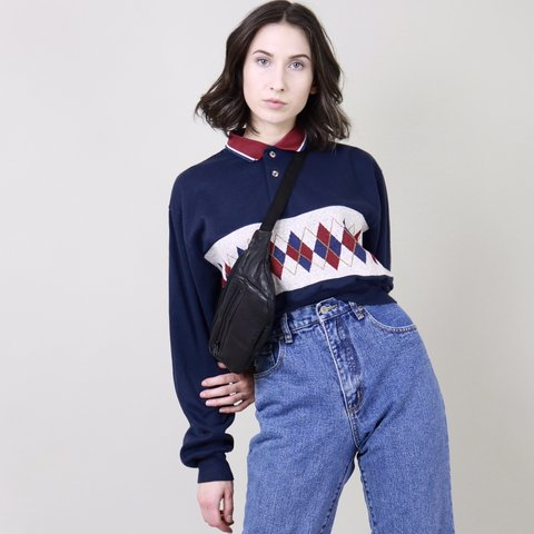 72a7a014c29e3e Vintage 1990s Reworked Grandpa Sweater Crop Top Adorable in - Depop