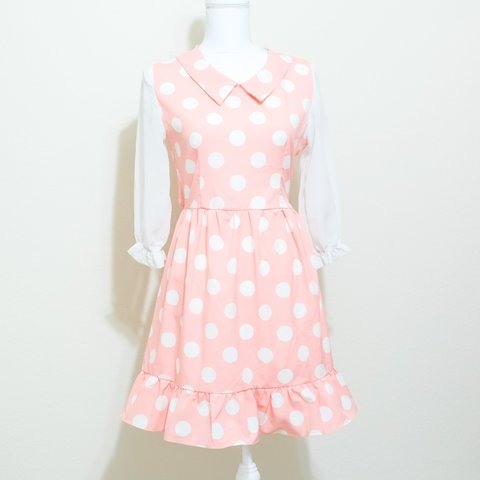 8c3df679f50 Vintage baby pink dress with white polka dots
