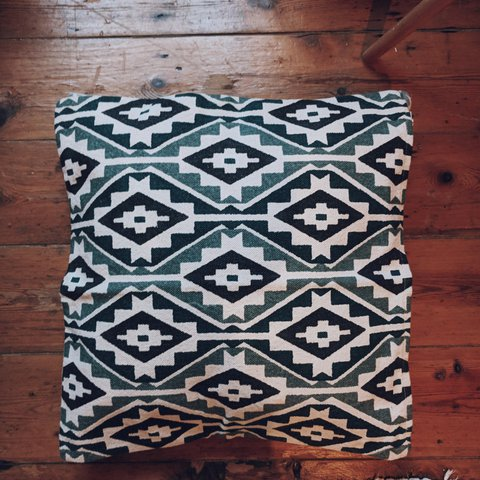 Two Cushion Covers From Hm One Blue And Grey One Green Depop