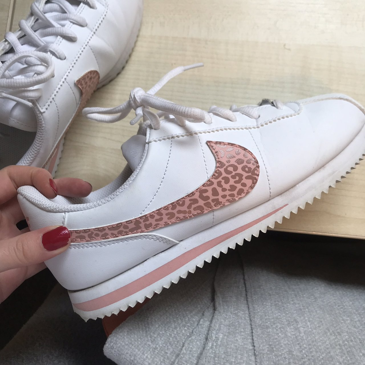 Nike cortez white with pink leopard