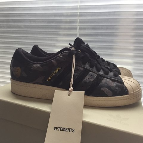 cf2ebb99a75d8 Adidas Superstar x Bape x Undefeated in size 37 1/3 ignore i - Depop