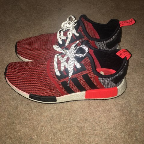 538792a47e759 Adidas NMD R1 Lush Red   Core Black  Running White. MENS out - Depop