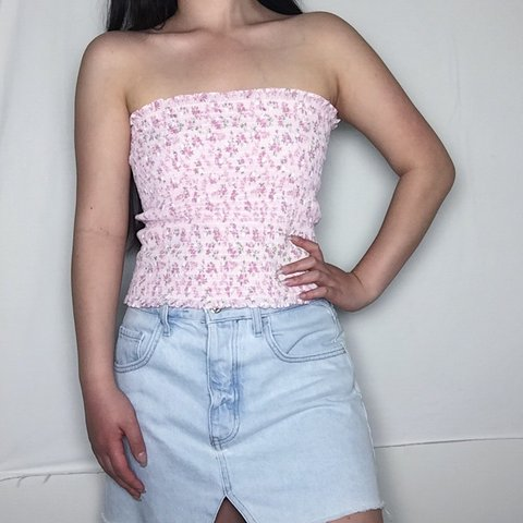 8ba5a0037d Pink floral tube top Great condition Velcro back Fits like a - Depop