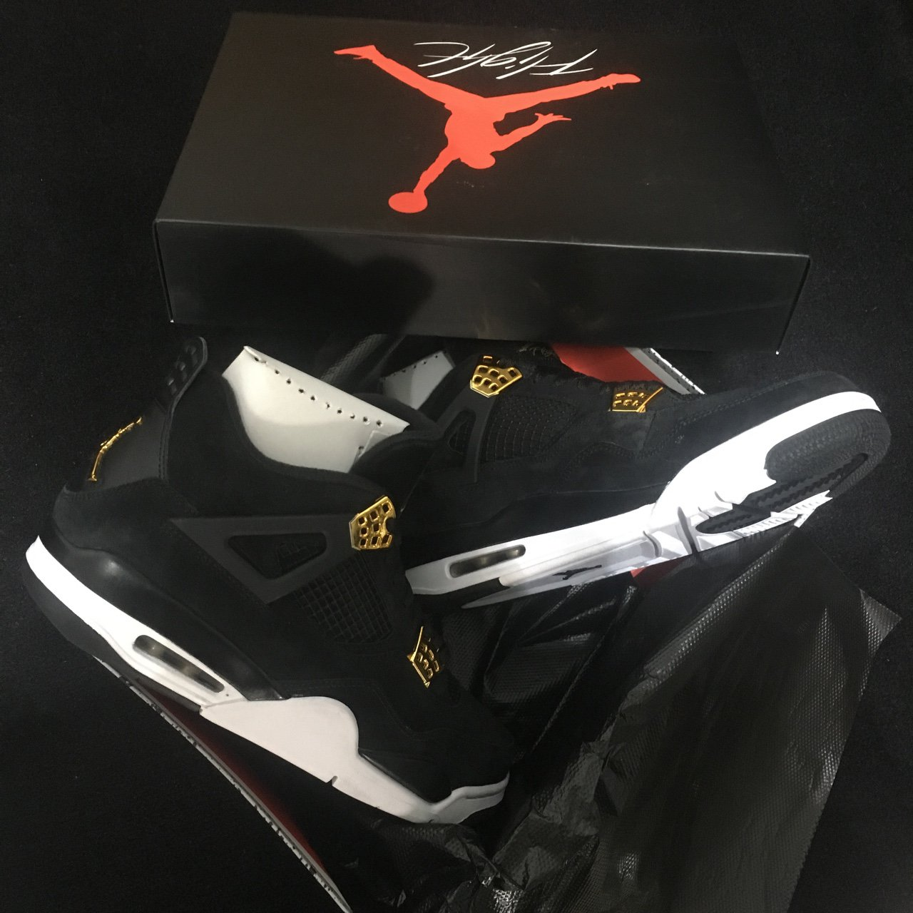 6697720ef41290 Air Jordan IV Royalty trainers. Black suede sneakers with in - Depop
