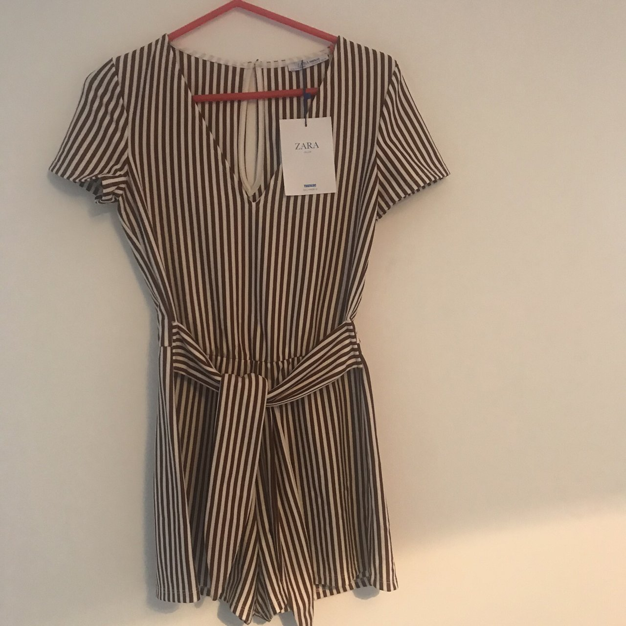 0ccaae13b90 Stripe Playsuit by Zara  size Small. New with tags! V-neck - Depop