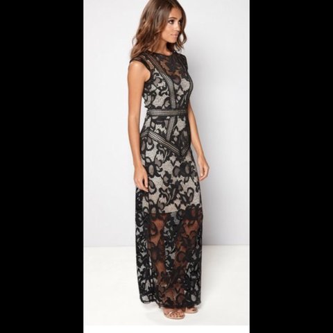 eb9ebdaae0a Little Mistress Lace Overlay Maxi Dress with Nude Slip - 12 - Depop