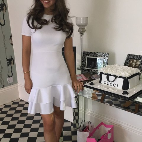 96c701dda8 White frilly dress with lace up back and white Ribbon has 3 - Depop
