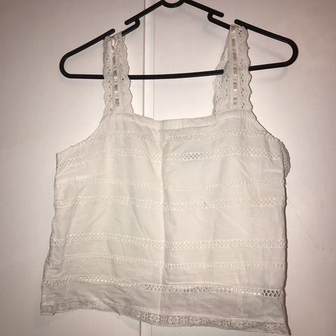 c967445d4fc58 Topshop white summer crop top with button detail down the as - Depop