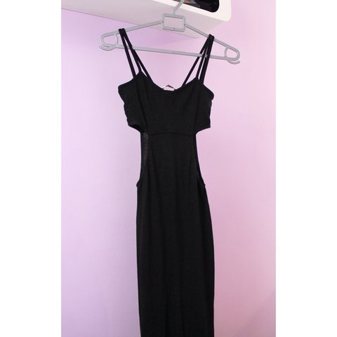 139ea84136d9c Miss Selfridge black maxi dress with spaghetti straps and 8. - Depop