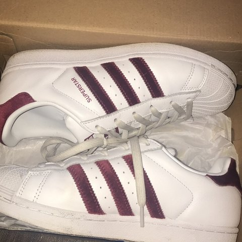 bee90860c Selling White and red suede Adidas superstars Worn before. 5 - Depop