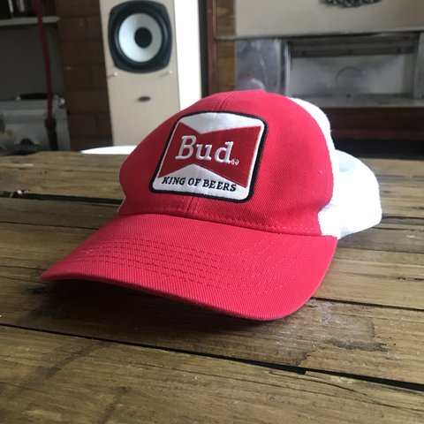 297c6b610e1bf Bud King of Beers Official Budweiser cap Velcro strapped - Depop