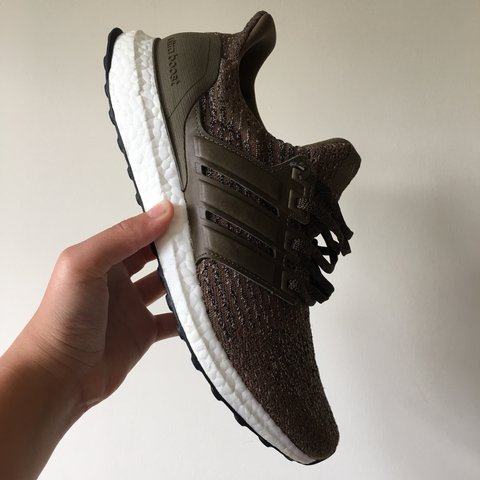 b2213cd7f ultra boost 3.0 olive leather cage uk9 9.5 10 condition  - Depop