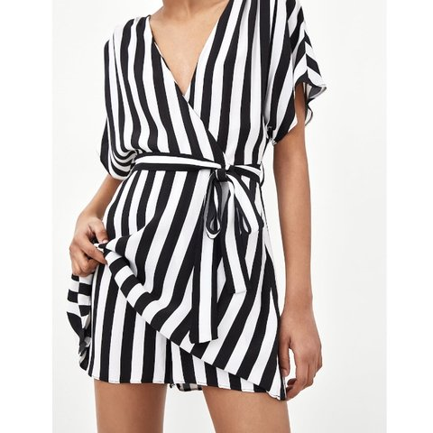 3f47c8cc40f9 Zara black and white mono striped jumpsuit playsuit wrap for - Depop