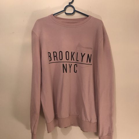 b67f9c92 Baby / Pastel Pink Long Sleeved Sweater with Brooklyn NYC in - Depop