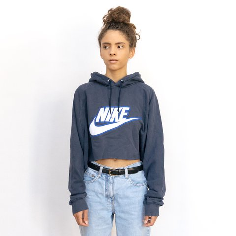 new product a2a07 5aa21 Vintage navy blue   white Nike big logo cropped hoodie. cool - Depop