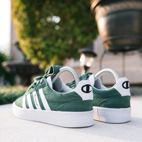 4c509ced3 Vintage early 90s super RARE Champion green suede striped by - Depop