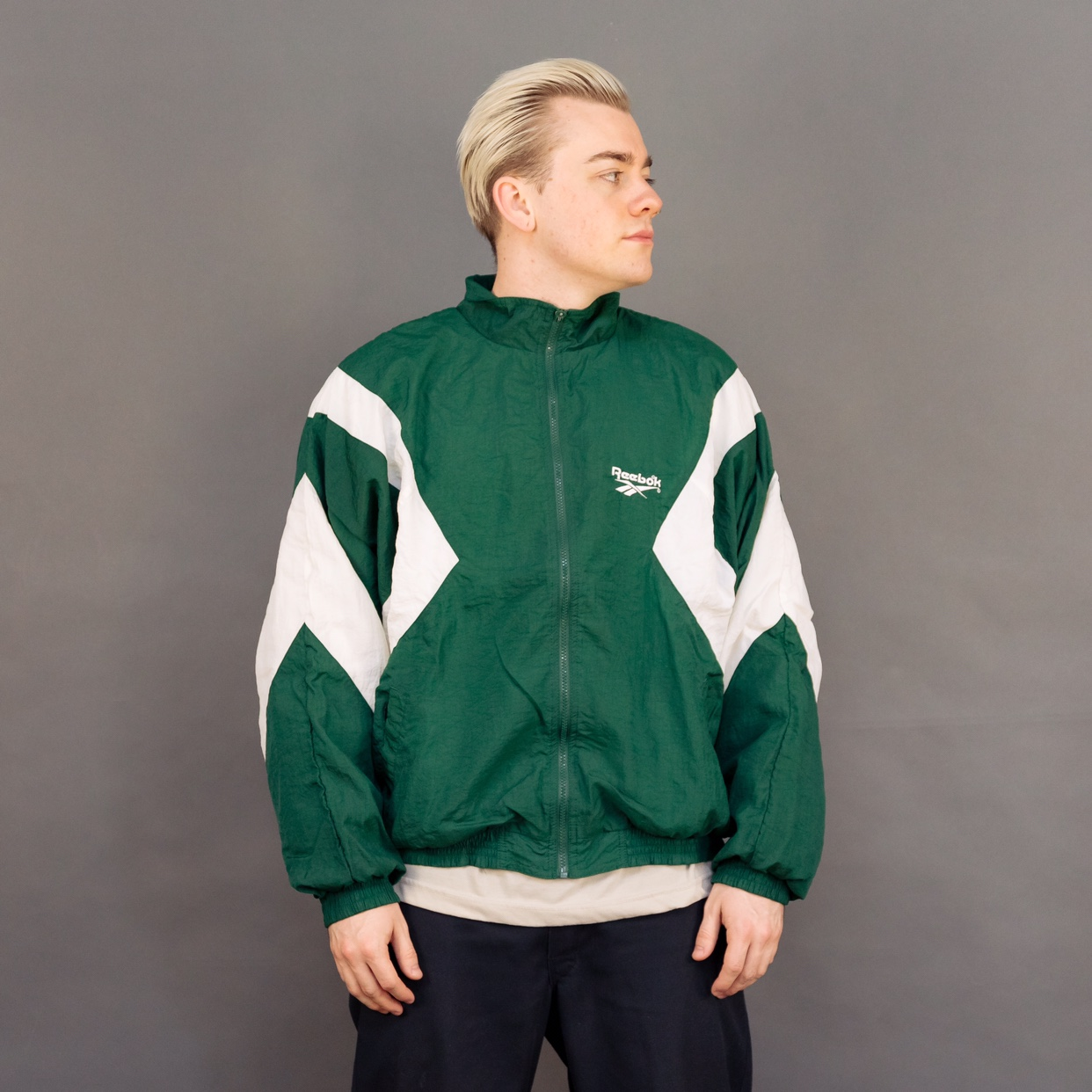 81633530ea576 Vintage 90s Reebok green and white zip p windbreaker... - Depop