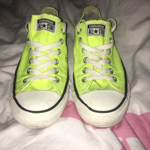 d766588999b4 Bright neon yellow converse bought these ages ago and wore - Depop