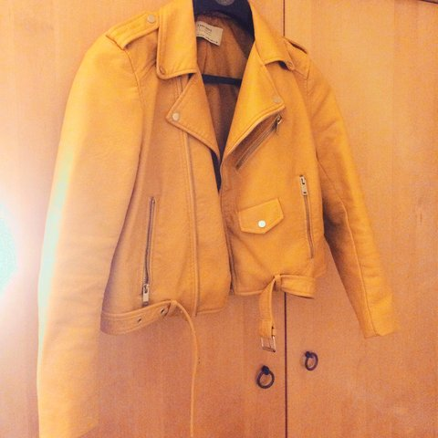 0a91e5a1 @kedickie. 3 years ago. Dundee, Dundee City, UK. Size M Zara faux leather  biker jacket in mustard. Worn a handful ...