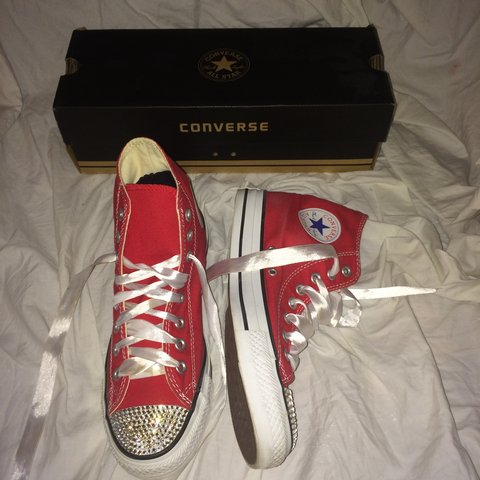 92532dd9dc5c82 Worn once  blinged up  converse. Swasoki crystal toes. Size - Depop