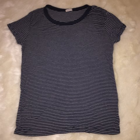 484b486e55 Navy and white striped tee from brandy melville. Super soft - Depop