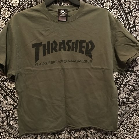e6f1f933a377 @w3dnesday_. last year. Los Angeles, United States. Olive green thrasher  magazine t-shirt!