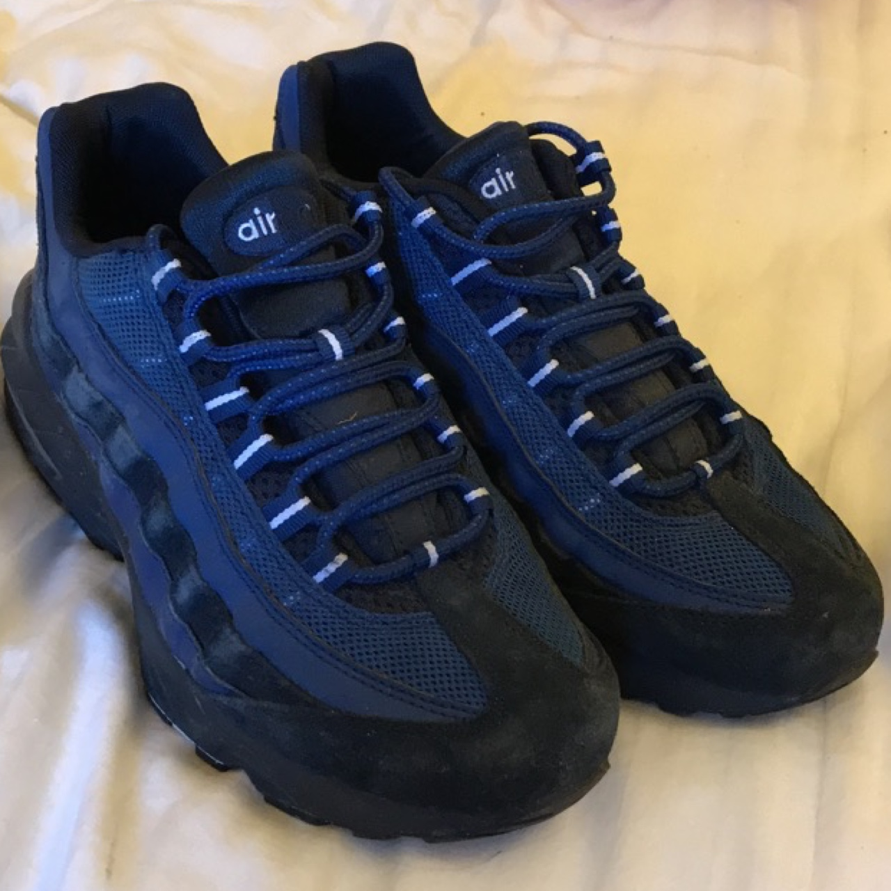 new concept 77eae 924a9 Nike Air Max 95 / 95s Triple navy /blue colour Size... - Depop