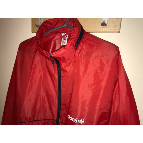 Adidas Windbreaker Jacket Red Black Size Xl Great 16 Depop