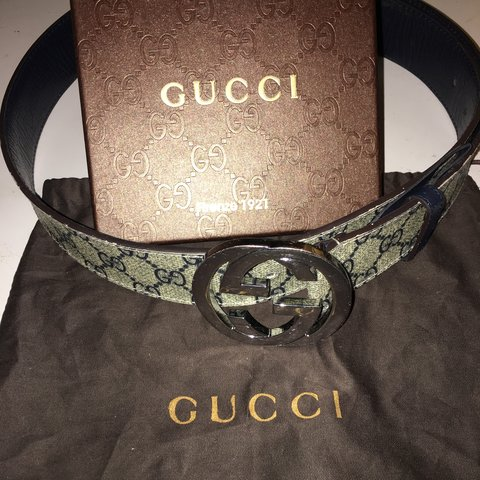 d9377bc1517 Gucci belt monogram Size 28-34 100 % authentic Good few on - Depop