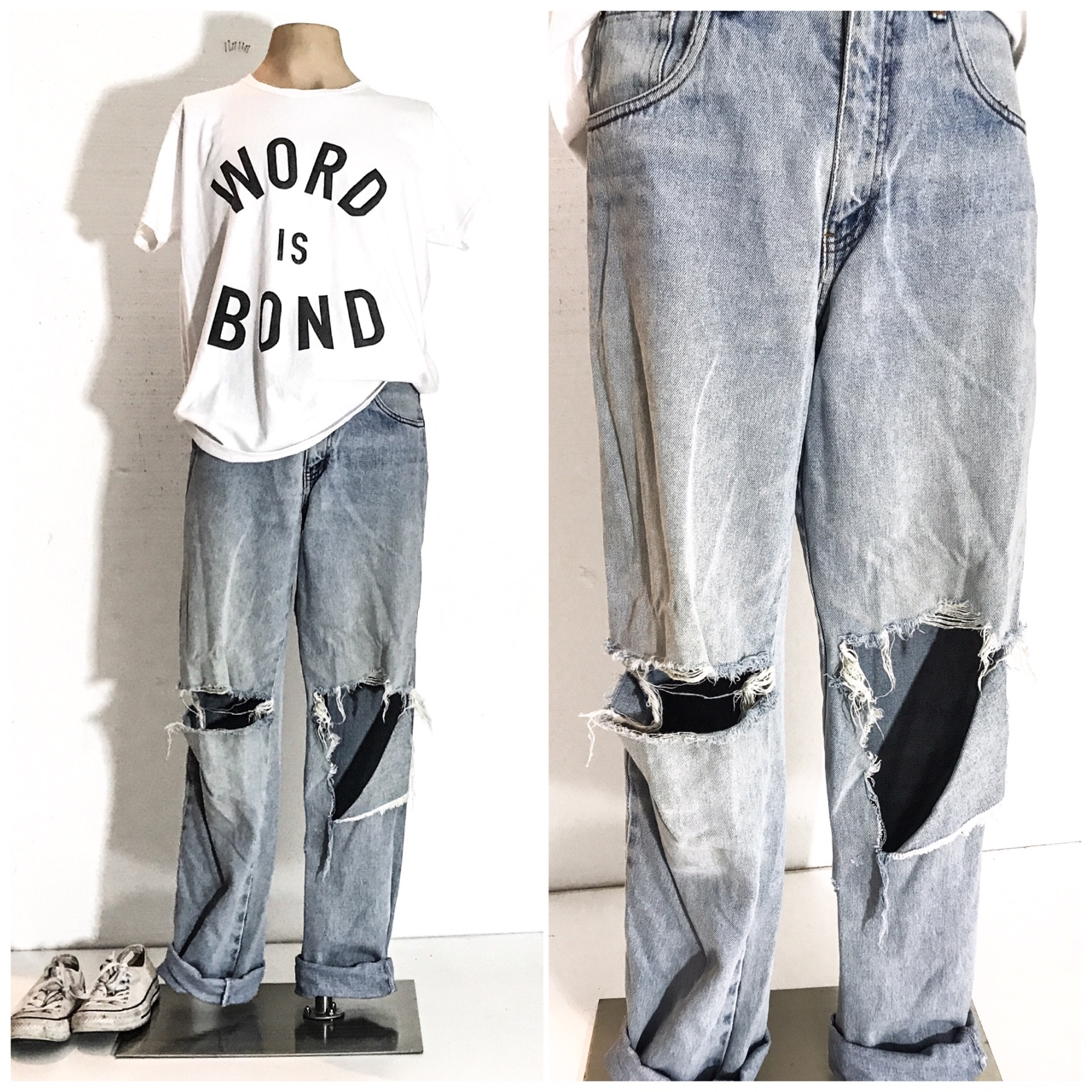 17a8bd13 90s VINTAGE Clothing GRUNGE Ripped Jeans 90's Men... - Depop