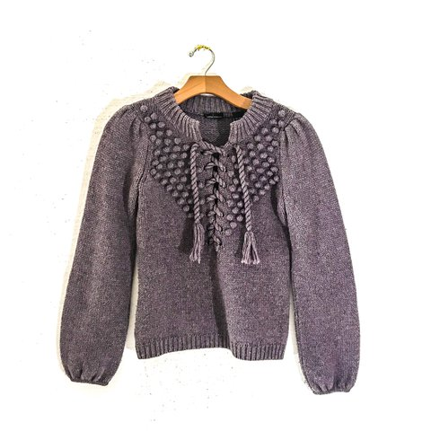 a43b72c31bd0de 90s Vintage LACE UP SWEATER Sweaters for Women Vintage Women - Depop