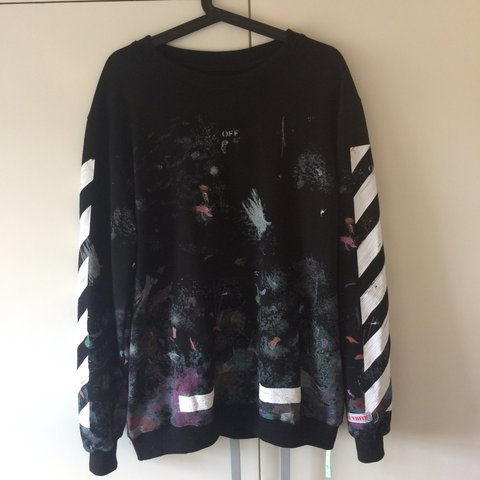 e986cc8abbe7 Off white galaxy crew neck jumper - size medium - used once - Depop
