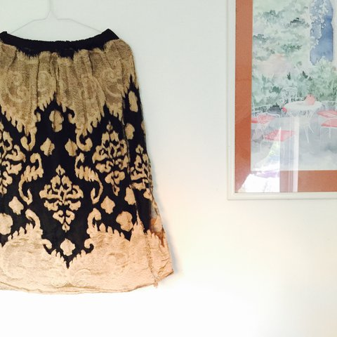 52722afda1 Paris Lace skirt with black silk under skirt with stretchy - Depop