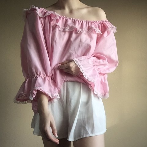 1a90fe9e6127d3 vintage pink frilly off the shoulder ruffled blouse ✨🌸💐 on - Depop